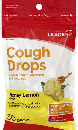 LEADER™ Cough Drops Honey Lemon 30 ct