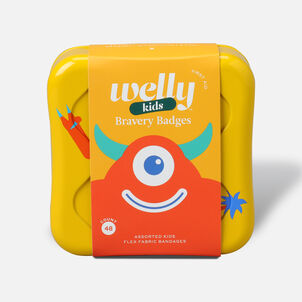 Welly Bravery Badges Assorted Kids Monster Flex Fabric Bandages - 48ct