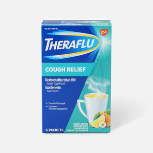 Theraflu Cough Relief Powder, Honey Lemon with Chamomile and White Tea, 6 ct