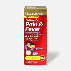 GoodSense® Children's Pain & Fever Oral Suspension, Acetaminophen 160 mg per 5 mL, Grape Flavor, 4 fl oz