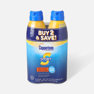 Coppertone Sport Sunscreen Spray SPF 30, Twin Pack, 5.5 oz each