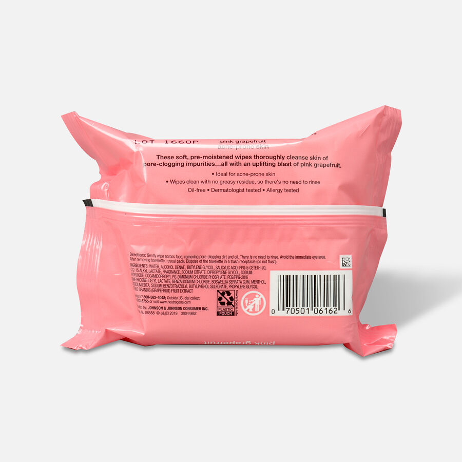 Neutrogena Pink Grapefruit Oil-Free Cleansing Wipes - 25ct, , large image number 1