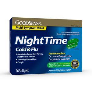 GoodSense® Night Time Cold & Flu Multi Symptom Softgels, 16 ct